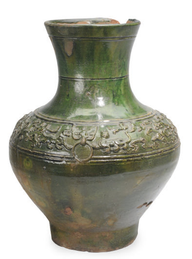 A CHINESE GREEN-GLAZED POTTERY