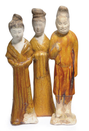 TWO CHINESE AMBER-GLAZED POTTE