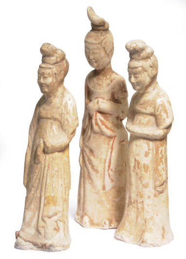 THREE CHINESE PAINTED AND STRA