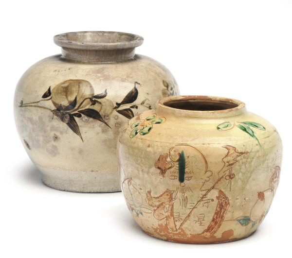 TWO CHINESE PAINTED AND GLAZED