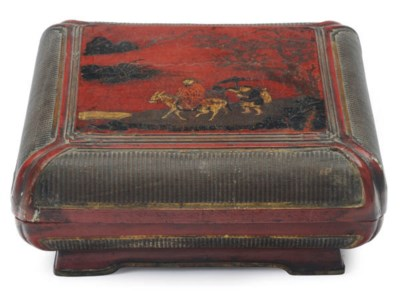 A CHINESE PAINTED RED LACQUER