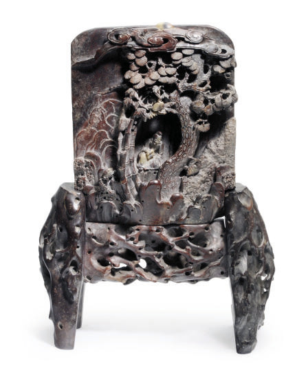 A CHINESE CARVED SOAPSTONE TAB