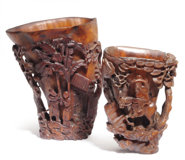 TWO CHINESE CARVED BUFFALO HOR