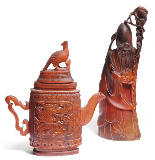 A CHINESE BUFFALO HORN EWER AN