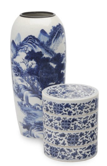 A CHINESE SOFT-PASTE BLUE AND