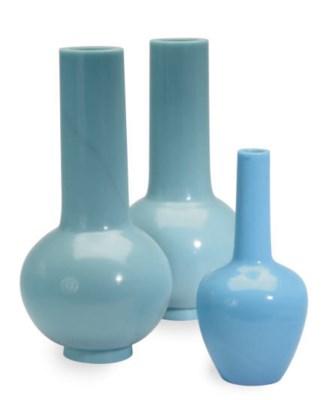 A PAIR OF LARGE PALE BLUE GLAS