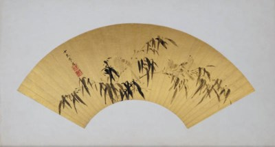 A CHINESE FANLEAF PAINTED WITH