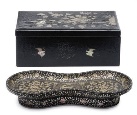 AN ASIAN LACQUER TRAY AND A BO