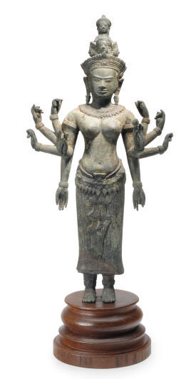 A KHMER BRONZE FIGURE OF PRAJN