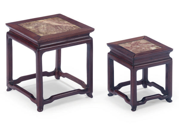 TWO CHINESE MARBLE INSET HONGM