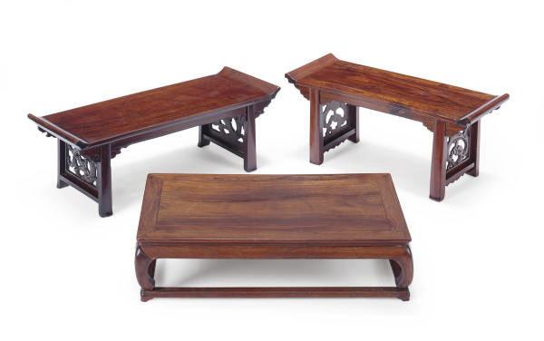 THREE CHINESE HUANGHUALI STAND
