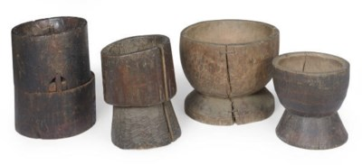 FOUR CHINESE WOOD MORTARS