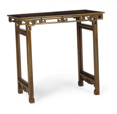A CHINESE FRUITWOOD RECESSED L