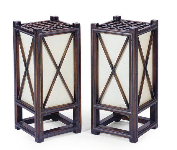 A PAIR OF MAHOGANY AND GLASS T