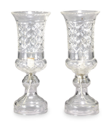 A PAIR OF CUT-GLASS TABLE LAMP