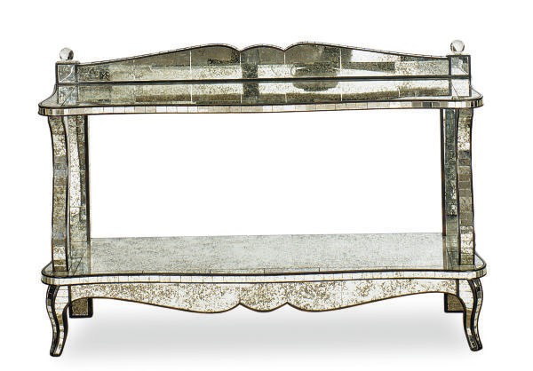 A MIRRORED CONSOLE TABLE,