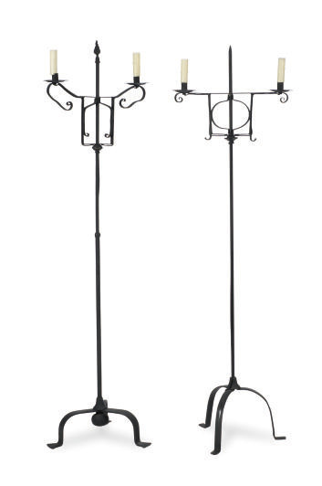TWO WROUGHT-IRON FLOOR LAMPS,
