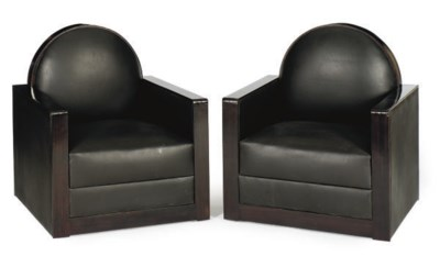 A PAIR OF EBONIZED AND LEATHER