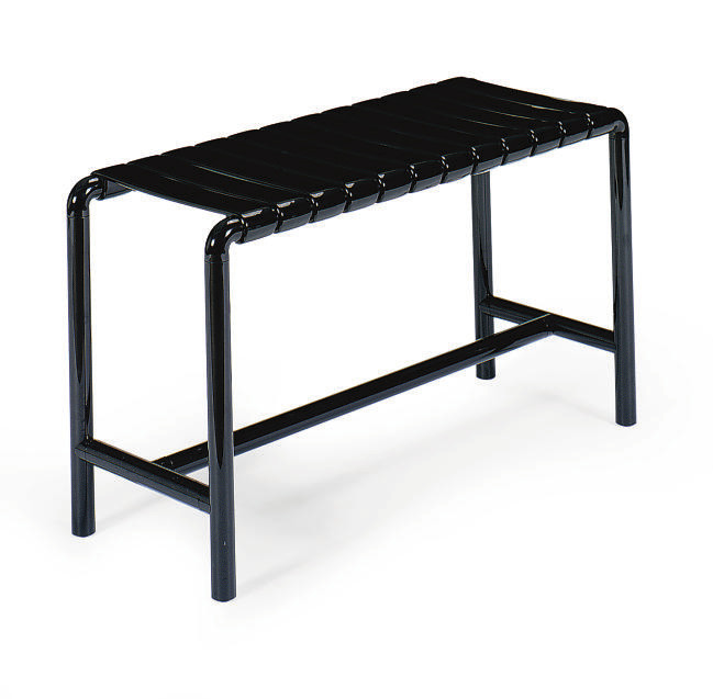 A BLACK HARD PLASTIC BENCH,