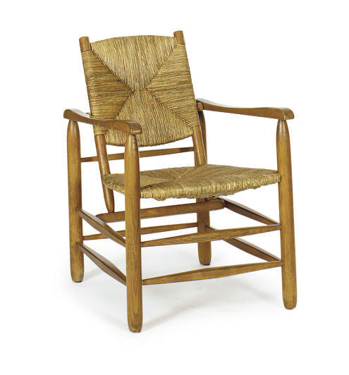 AN OAK AND RUSH-SEAT ARMCHAIR,