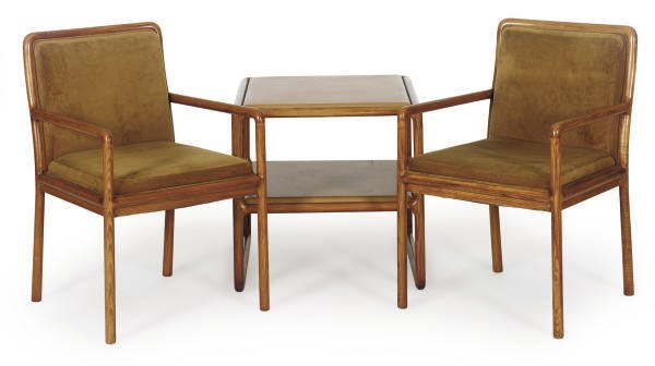 A PAIR OF ASH ARMCHAIRS,
