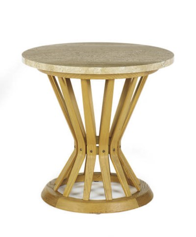 AN ASH AND MARBLE SIDE TABLE,