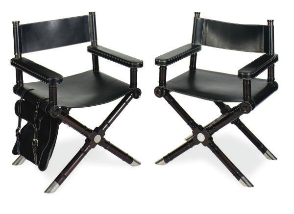 Super A Pair Of Metal Mounted Mahogany And Leather Directors Ibusinesslaw Wood Chair Design Ideas Ibusinesslaworg