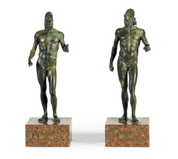 TWO PATINATED BRONZE ROMAN FIG