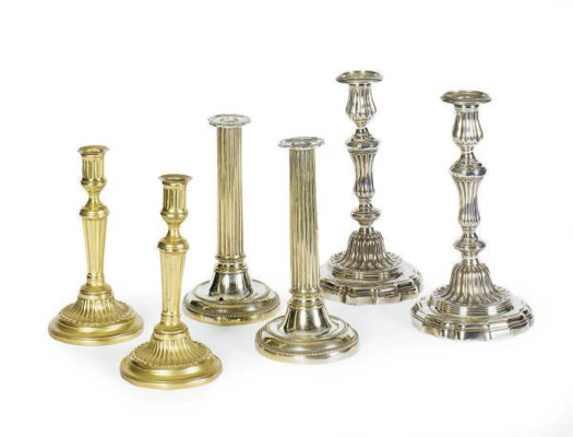 A GROUP OF TEN SILVER-PLATED,