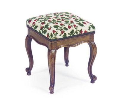 A FRENCH BEECHWOOD TABOURET,