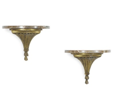 A PAIR OF GILTWOOD AND MARBLE