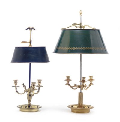 TWO GILT-BRONZE THREE-LIGHT BU