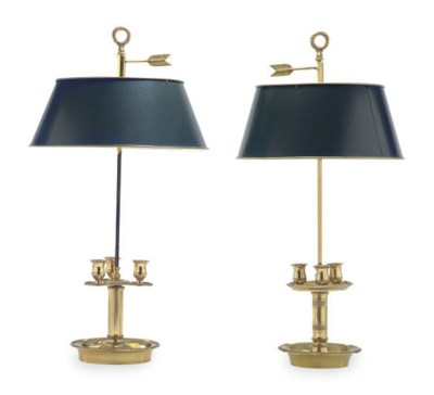 TWO GILT-METAL BUILLOTTE LAMPS