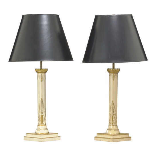 A PAIR OF CREAM AND GILT-DECOR