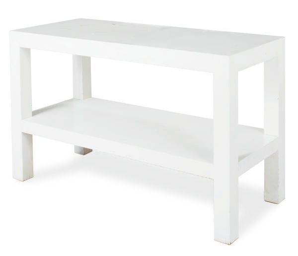 A WHITE-PAINTED SIDE TABLE,
