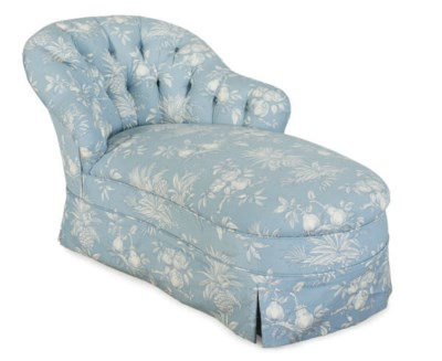 A BLUE AND WHITE-UPHOLSTERED C