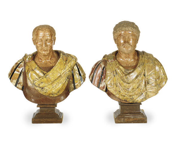 A PAIR OF ITALIAN MARBLE AND H