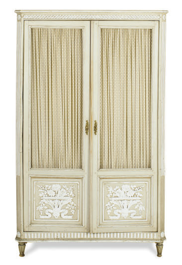 A FRENCH PROVINCIAL PAINTED DIMINUTIVE ARMOIRE,