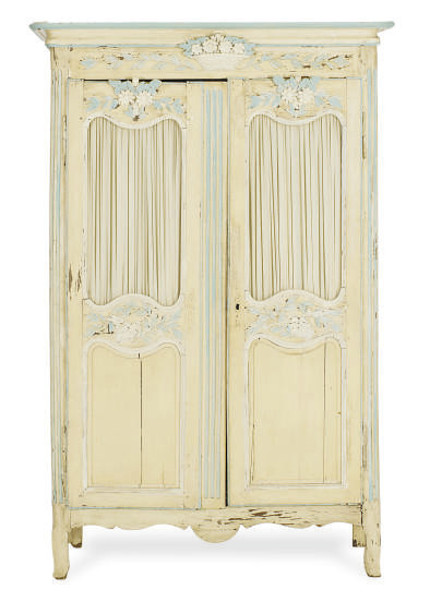A FRENCH PROVINCIAL PAINTED ARMOIRE,
