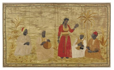 A SILK EMBROIDERED AND PAINTED