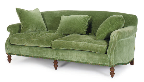 A GREEN VELVET UPHOLSTERED SOF