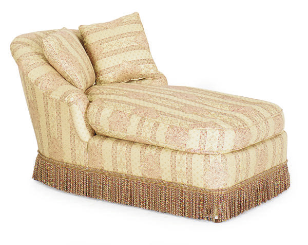 AN UPHOLSTERED CHAISE LONGUE,