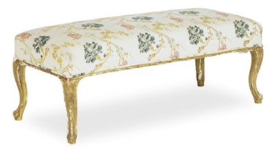 A FRENCH GILTWOOD BENCH,