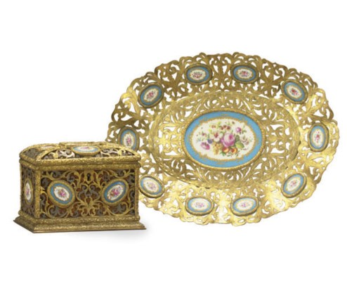 A GILT-BRONZE AND PORCELAIN-IN