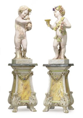 A PAIR OF POLYCHROME-GLAZED EA