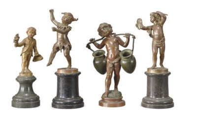 FOUR PATINATED AND GILT-BRONZE