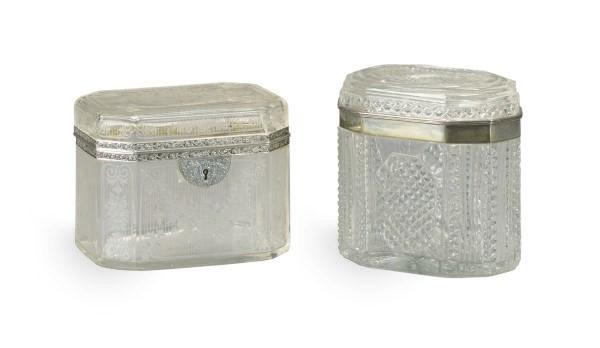 A SILVER-MOUNTED CUT-GLASS CAS