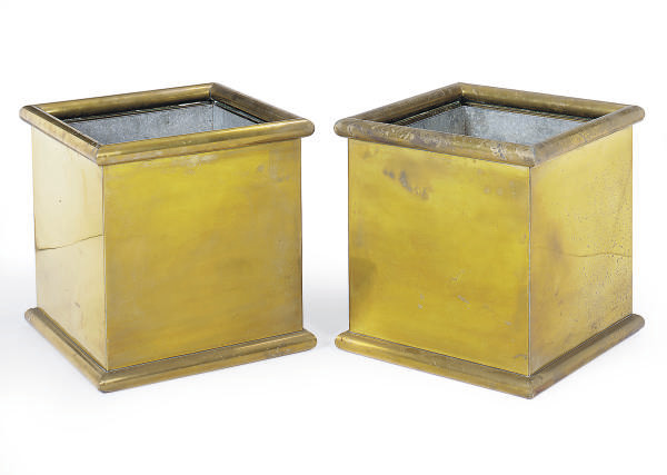A PAIR OF BRASS SQUARE-FORM JA