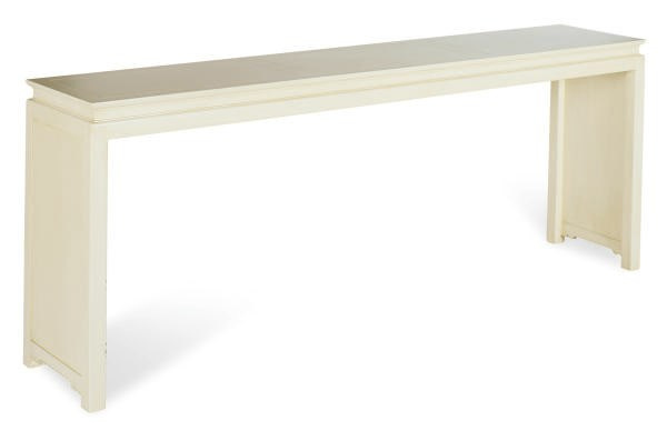 A CREAM-PAINTED ALTAR TABLE,