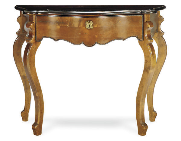 A FRUITWOOD SERPENTINE CONSOLE